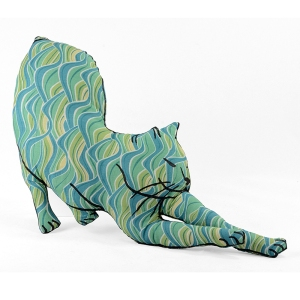 stretching cat medium gby swirls