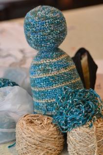 teal beige yarn wip 2