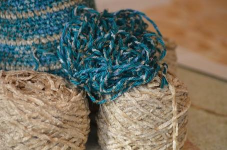 teal beige yarn wip