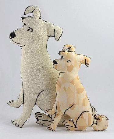 two custom beige dog pillows front