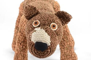 close up crocheted pitbull