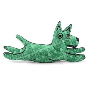 green op art print flying westie pillow