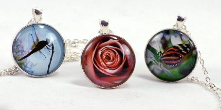 three flora fauna necklaces